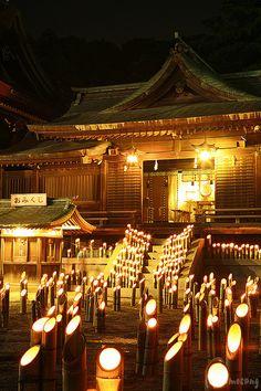 "Bamboo Lantern celebration at ""Miyajidake Shrine"" Miyaji-motomachi, Fukutsu city, Fukuoka prefecture, Japan. Photography by Tomosang Kyoto, Fukuoka Japan, Japan Japan, Japan Trip, All About Japan, Kyushu, Kumamoto, Photo Awards, Japanese Culture"