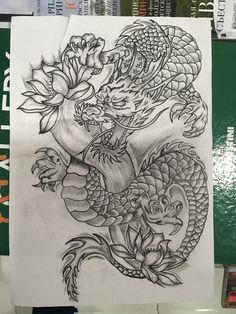(notitle) - Tattoo ideen - dragon tattoo for women Dragon Tattoo Drawing, Dragons Tattoo, Tattoo Drawings, Chinese Dragon Drawing, Dragon Thigh Tattoo, Tattoo Ink, Drawing Art, Arm Tattoo, Medusa Tattoo
