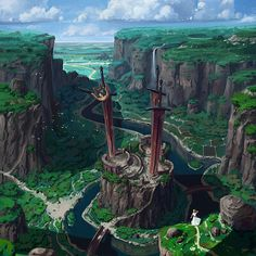 River Canyon Battle of the gods Titan Swords Towers Wilderness village cliffs farmland ArtStation med Fantasy City, Fantasy Castle, Fantasy Map, Fantasy Places, High Fantasy, Fantasy World, Fantasy Artwork, Fantasy Art Landscapes, Fantasy Concept Art