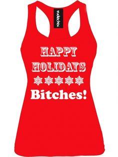 "Women's ""Happy Holidays"" Tank by Rudechix (Red) #inkedshop #holidays #tanktop"