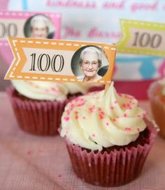 My sweet grandmother turned 100 over the weekend! So we all headed to see her and celebrate with 100 cupcakes. My mom made mini cupcakes . Superman Birthday Party, 75th Birthday Parties, 90th Birthday, Birthday Celebration, Birthday Ideas, Birthday Board, 100 Years Celebration, Grandpa Birthday, Milestone Birthdays
