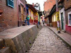 A pedestrian street in Bogota, Colombia