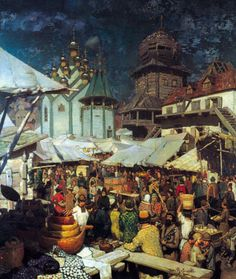 Apollinary Mikhailovich Vasnetsov - Bazar. XVII century, (1903). Oil on canvas, 245 x 211 сm. The State Historical Museum, Moscow, Russia.