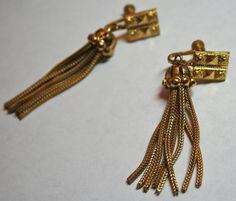 Late Victorian screwback earrings with dangling mesh by lbjool, $35.00