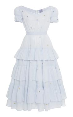 Shop Visconti Off-The-Shoulder Embroidered Cotton Midi Dress. Softly crafted from cotton in a 'cloud' hue, Thierry Colson's 'Visconti' maxi dress is ideal for keeping cool in balmy climates while still looking sophisticated. Kpop Outfits, Dress Outfits, Fashion Dresses, Look Fashion, Korean Fashion, Womens Fashion, Looks Kawaii, Pretty Outfits, Cute Outfits