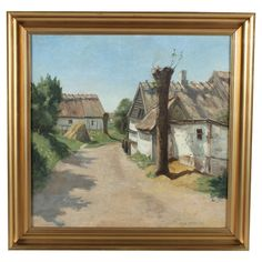 Landscape+oil+on+canvas+by+Danish+artist+Jacob+Meyer+(1895-1971).+Signed+lower+right,+dated+1921.+  Product:+Framed+wall+decor