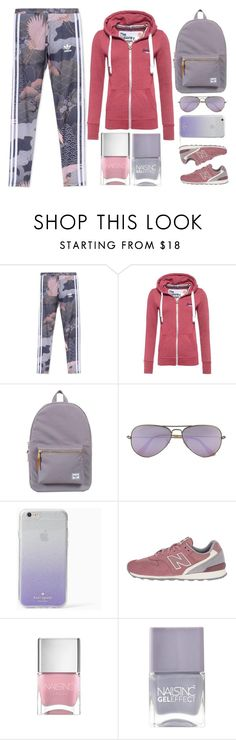 """""""Time to Work Out"""" by juliehalloran ❤ liked on Polyvore featuring adidas Originals, Superdry, Herschel Supply Co., Ray-Ban, Kate Spade, New Balance Classics and Nails Inc."""