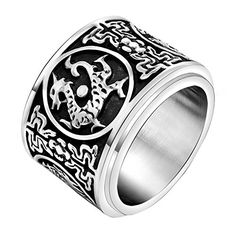 FANSING Costume Jewelry Christmas Gift Mens Stainless Steel Chinese Ancient Guardian Beast Spinner Rings Size 10 >>> You can find more details by visiting the image link.-It is an affiliate link to Amazon. #ReligiousRings