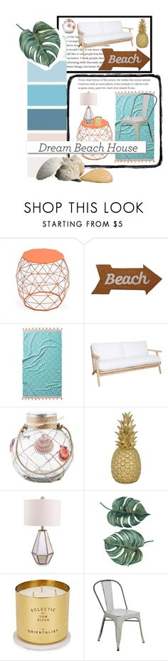 """Beach houses"" by the-crazy-dog-lover ❤ liked on Polyvore featuring interior, interiors, interior design, home, home decor, interior decorating, Adeco, Mud Pie, John Robshaw and Rachel Ashwell"