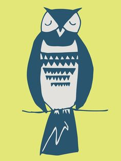 """Simple Owl"" Wall Art for Kids Rooms by Katy Yeaw for Oopsy Daisy 14x18 $89 and 18x24 $119 (free shipping thru 2/3)"