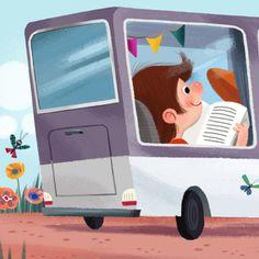 Aprovecho, cada mañana, para leer en el bus mientras voy al cole. Empezando el día con la lectura (ilustración de Olga Demidova)