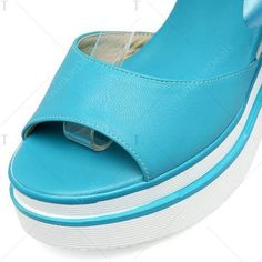 Ribbons Platform Sandals Lake Blue ($42) ❤ liked on Polyvore featuring shoes, sandals, blue shoes, blue ribbon shoes, blue platform sandals, blue color shoes and blue sandals
