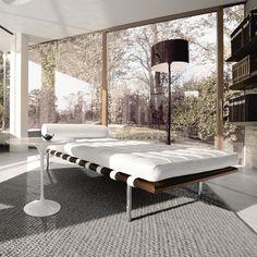 Knoll International - lit de jour Barcelona en cuir blanc - Mies van der Rohe - 12000 euros