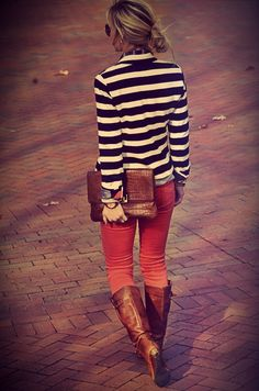 Red skinnies, brown tall boots, stripped top