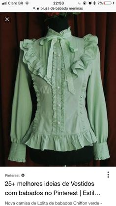 Being the most beautiful Lolita princess, Lolitashow Lolitashow Fresh Green Chiffon Ruffles Lolita Shirt couples with sweet styles and comfortable materials at affordable prices. Desire Clothing, Love Clothing, Classy Outfits, Pretty Outfits, Vintage Outfits, Tomboy Outfits, Emo Outfits, Little Girl Dresses, Nice Dresses