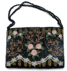 Christiana Purse Hand Beaded Black Beads by TheJewelryLadysStore