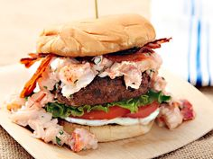 Surf N' Turf Burger (Grilled Burger with Lobster and Bacon) | I will just put this bad boy on lettuce instead of a bun and call it a day!