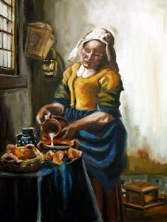 "Moja interpretacja ""Mleczarki"" Jana Vermeera Emotikon smile  farby olejne"