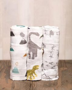 Cotton Muslin Swaddle Blanket Set - Dino Friends // dinosaur theme // baby boy // modern baby //