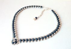 Wedding Jewelry, Pearl and Midnight Blue Beaded Jewelry Necklace, Bridal Jewelry Necklace, V Shaped, Wedding Jewelry, Mother of the Bride, Costume Jewelry by MelJoyCreations