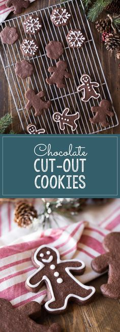 Chocolate Cut-Out Cookies - Easy to roll and cut out and they taste like brownies! Chocolate Sugar Cookie Recipe, Chocolate Roll, Sugar Cookies Recipe, Chocolate Cookies, Chocolate Recipes, Chocolate Ganache, Cookie Recipes From Scratch, Easy Cookie Recipes, Cookie Desserts