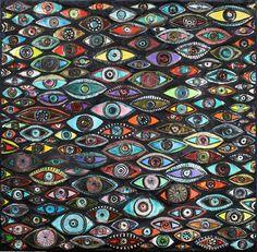 EYES Evil Eye mosaic ceramic art handmade by by MichalGolanJewelry, $1800.00