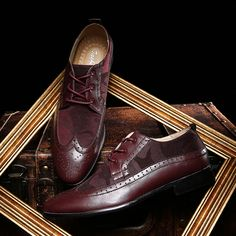 Man Flat Camo Classic Men Dress Shoes Genuine Leather Black Burgundy Red Wingtip Carved Italian Formal Oxfords Size39-44