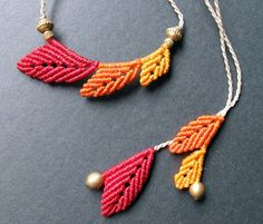 reversible macrame leaf necklace boho bohemian hippie micro macrame multicolored necklace via Etsy
