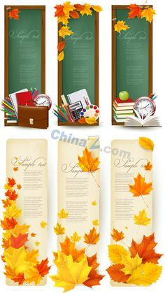 Autumn school banner vector material