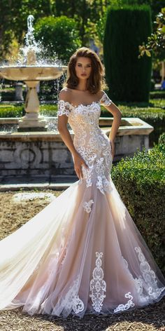 27 Mermaid Wedding Dresses You Admire ❤ mermaid wedding dresses blush lace off the shoulder with train victoria soprano ❤ See more: http://www.weddingforward.com/mermaid-wedding-dresses/ #weddingforward #wedding #bride