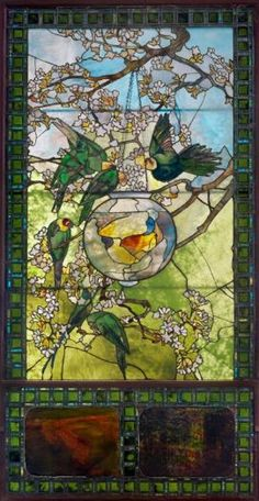 """✿ڿڰۣ(̆̃̃•Aussiegirl """"Parakeets and Gold Fish"""" Louis Comfort Tiffany, 1893"""