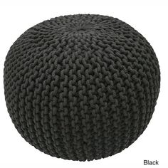 nuLOOM Handmade Casual Living Disco Cables Pouf (Black), Size Specialty (Cotton)
