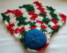 Handmade Crochet Scrubber with Dish Cloth Kitchen Red White Green Silver Holiday