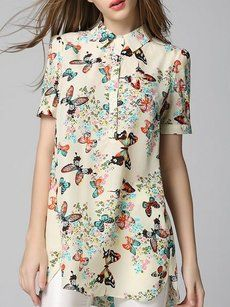 Printed Designed Small Lapel Short Sleeve Blouses