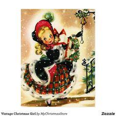 Vintage Christmas Girl Postcard