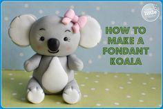 How To Make a Fondant Koala Bear Tutorial Fondant Figures Tutorial, Cake Topper Tutorial, Fondant Toppers, Fondant Cakes, Cupcake Cakes, Fondant Bow, Car Cakes, Fondant Flowers, Fondant Recipes