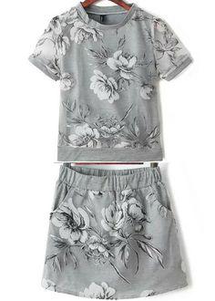 Top Organza Floral con falda-gris