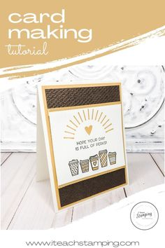 Click through to see one of my super cute and easy handmade coffee cards that you can make in any color to send to your favorite coffee-loving friend. Perfect to enclosed a gift card to their favorite coffee shop! And you can make one or a stack in no time! Come get the details! Easy Coffee, Coffee Cards, Card Making Tutorials, Card Stock, Stampin Up, Free Paper, Tea Sets, Greeting Cards Handmade, Coffee Shop