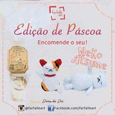 Bom dia !!! #meaw  #amigurumi #croche #crochet #handmade #easter #pascoa #neko #nekoatsume #farfalleart #pascoa2016  #pascoachegando #ovodepascoa #doce #chocolate by farfalleart