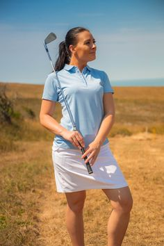 This premium Island Green summer polo in baby blue is designed with the latest technology and fabrics to allow you to perform your best. #welovegolf