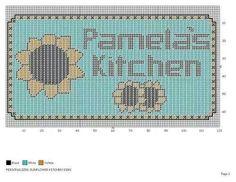Personalized kitchen WH Plastic Canvas Crafts, Plastic Canvas Patterns, Tissue Box Covers, Tissue Boxes, Sunflower Crafts, Kitchen Canvas, Crochet Garland, Kleenex Box, Canvas Home