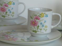 New to lingerawhile on Etsy: Mid Century Porcelain Floral Cup and Plate Snack Set - 8 Piece (25.00 USD)