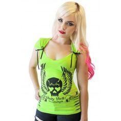 Demi Loon Holy Hell Bombshell Neon Slashed Bow Tee