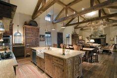 Barndominium interiors kitchen rustic with wood floor strap hinges wood floor