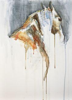 """Saatchi Online Artist: Benedicte Gele; Watercolor, Painting """"Equine Nude 1a"""""""