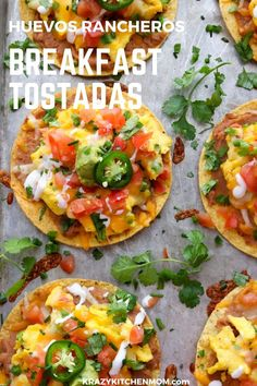 Huevos Rancheros Breakfast Tostadas is a great recipe for breakfast lunch or dinner. They're made with creamy refried beans fluffy scrambled eggs with melted cheese diced tomatoes diced onions guacamole sour cream cilantro and jalapeños. Easy Brunch Recipes, Breakfast Recipes, Dinner Recipes, Breakfast Ideas, Brunch Ideas, Unique Recipes, Appetizer Recipes, Huevos Rancheros, Tostadas