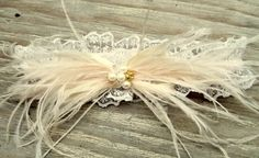 Wedding Garter  White or Ivory lace and Ostrich by kathyjohnson3, $36.00