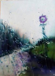 """catherine cannat, pastelliste """"Instant de pluie 2"""" pastel sec 30x40 Pastels, Rain"""