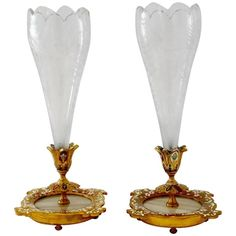 Rare Pair Antique French Champleve Enamel Baccarat Crystal Epergne/Vases | From a unique collection of antique and modern enamels at https://www.1stdibs.com/furniture/more-furniture-collectibles/enamels/