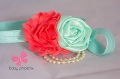 this fabulous coral shabby is paired with this amazing aqua rolled flower joined by some pearls on a 5/8' aqua headband http://www.babyphoenix2011.ca/ www.facebook.com/babyphoenix2011@hotmail.com